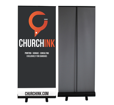 Economy Retractable Banner Stands (BLACK BASE)