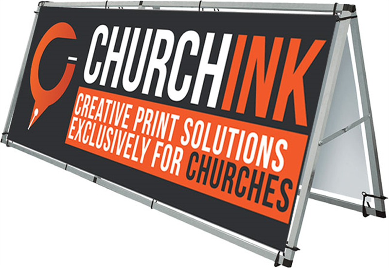 Outdoor Church Banner Display Frame - 8 foot