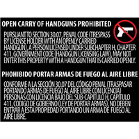 Texas OPEN Gun Carry Signs (30.07) WINDOW ADHESIVE
