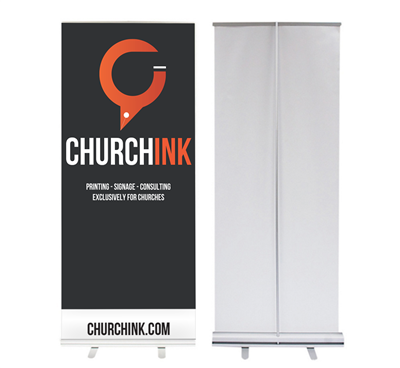 Economy Retractable Banner Stands (SILVER BASE)